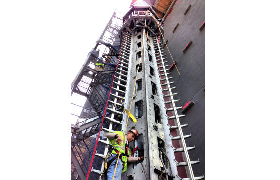 Vertical Rigid Fixed-Track Lifeline With 408-Foot Ladder