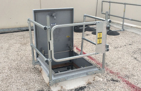 Roof Hatch Railing System With Hatch Covers and Guards and Integrated Safety Gates
