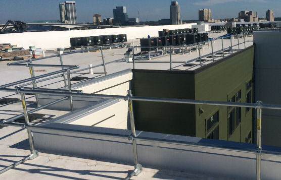 Rooftop Railing Depicting Flexibility of KeeGuard System From Kee Safety