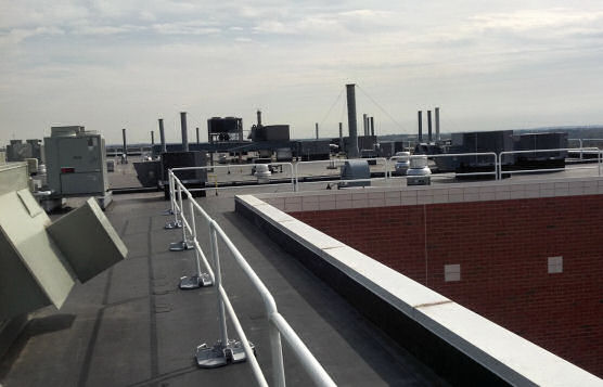 Perimeter Roof-Edge Rail System For Fall Protection While Maintaining Equipment