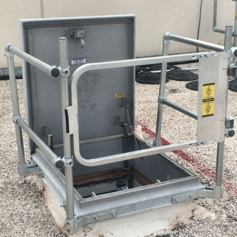 osha requires roof hatch systems installation to include safety railings and swing gates without roof hatch - Roof Hatch