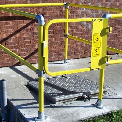 Fall protection safety gates industrial safety gate installation powder coated yellow industrial self closing safety gate sciox Image collections