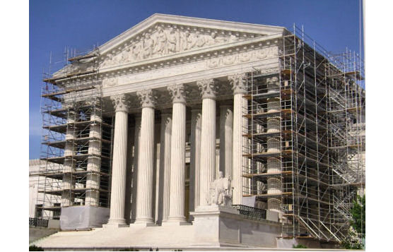 Debris Retention Barrier During U.S. Supreme Court Building Restoration