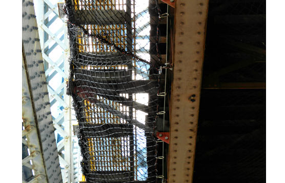 Below-Bridge Personnel Netting Installed From Spudded Barge During Track Replacement on Harlem River Lift Bridge, Bronx, NY