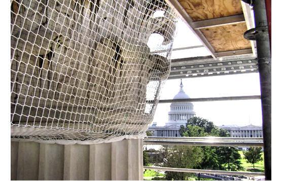 Debris Net For Falling Mortar On U.S. Supreme Court Building Restoration