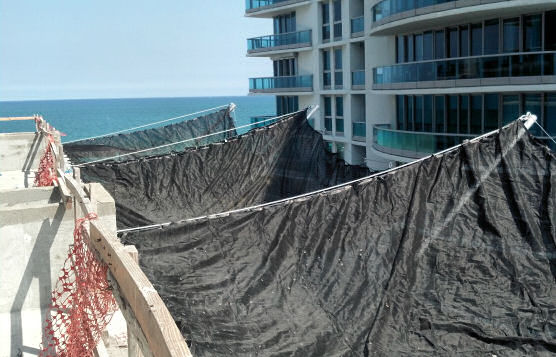 Horizontal Perimeter Netting Installation For Falling Debris On Construction Jobsites