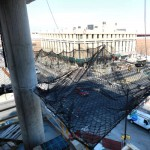 New High-Rise Construction With Personnel Cantilevered Net System On Building Exterior