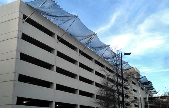 Fall Protection Netting Installed During Parking Garage Expansion, Carolina Medical Center, Charlotte, NC