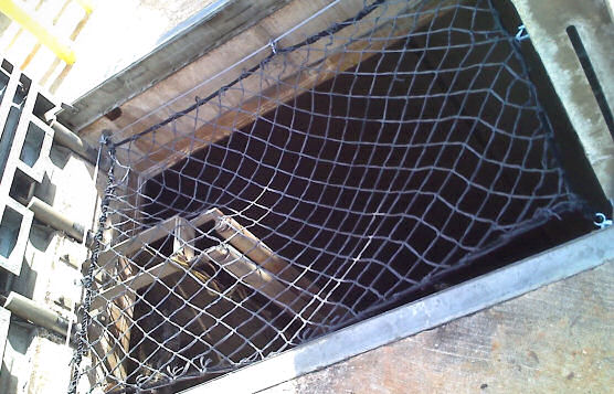 Safety netting Fall Protection Over Open Hatch In-Ground Tank