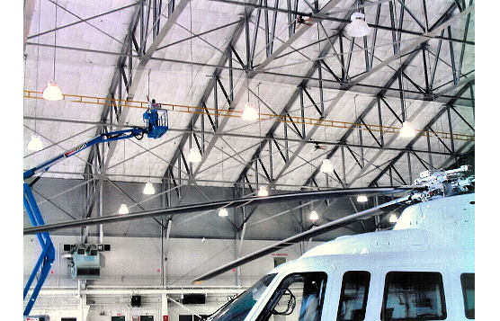 Rigid and Fixed-Track Lifeline Installed In Low Fall Clearance In Aircraft Hangar For Fortune 500 Oil and Energy Company