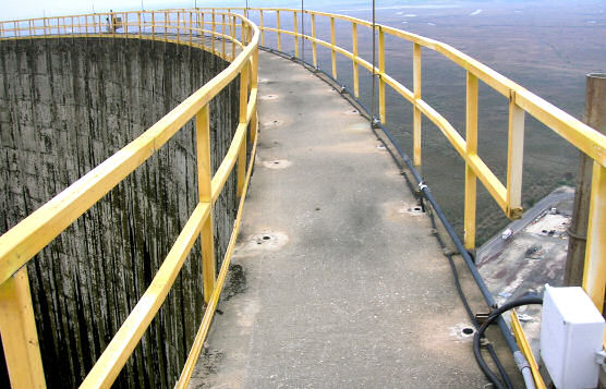 Horizontal Lifelines Atop Cooling Tower at Nuclear Power Plant