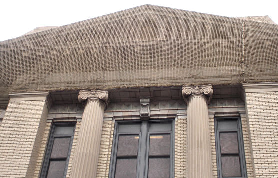 Debris Containment Netting Installation During Restoration of Passaic County Courthouse, Passaic, NJ