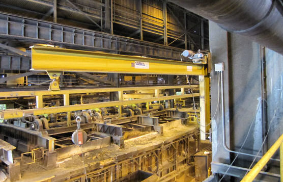 Swing Arm With Fixed-Track Lifeline While Loading In Steel Manufacturing Plant