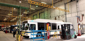 Horizontal Fixed Track Lifeline For Fall Protection in Bus Maintenance Terminal