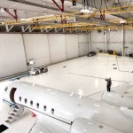 Rigid Overhead Fixed-Track Lifelines For Maintenance Work Above Aircraft In Airplane Hangar
