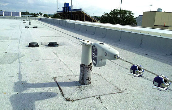 Non-Penetrating Rooftop Lifeline System With Large Base Plate, Newark, DE