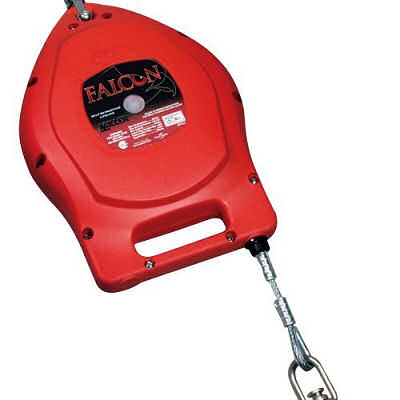 Self-retracting lifeline for use with fall protection anchor points or overhead fixed track.