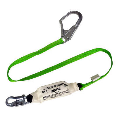 Fixed-length lifeline shock-absorbing lanyard.