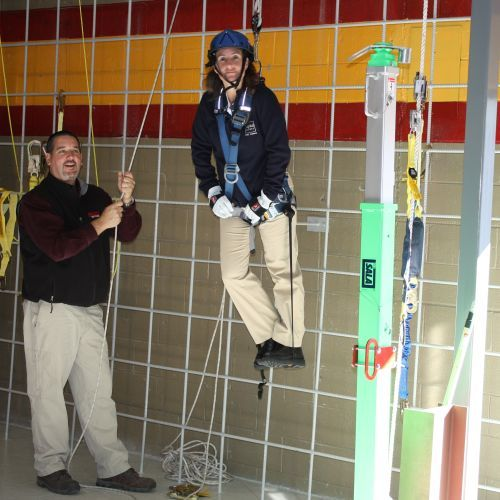 FallProof Training Center Class Demonstrating The Difference Between Fall Protection and Fall Prevention