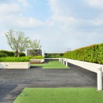 Green Roof With Structural Supports For Horizontal Lifeline 42 Inches From Parapet Wall