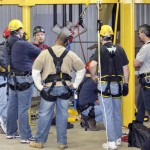 Group demonstration of the use of various types of fall protection equipment.
