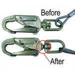 Before and after example of equipment inspection on horizontal lifelines after fall.