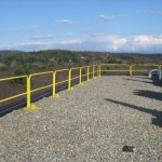 Roof edge rail systems, including portable non-penetrating guardrails, are available in a variety of modular assemblies.